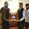 Cricketer Irfan Pathan, Parvez Rasool call on Advisor Vijay Kumar
