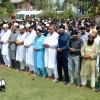Amid strike, SSA teachers while offering Friday congregational prayers at Pratap Park Srinagar  –KV Photo