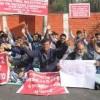 Kashmiri migrant pandit youth stage protest outside Raj Bhavan