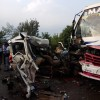 Bus, car ram into each other, one dead